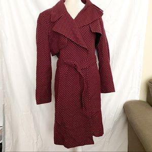 Linda Allard Polka Dot full length wool blend coat